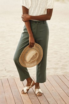 Khaki Linen Blend Crop Trousers
