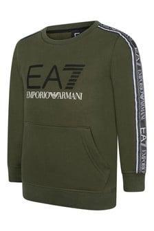 EA7 Boys Green Cotton Logo Sweater