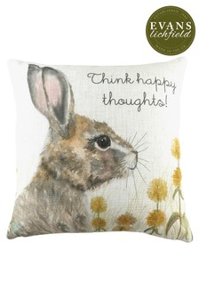 Hand Painted Woodland Hare Cushion by Evans Lichfield