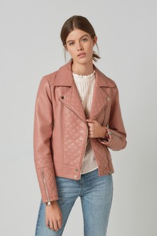 Pink Faux Leather Quilted Biker Jacket