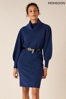 Monsoon Dark Blue Roll Neck Knit Dress