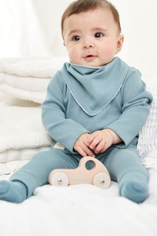 Blue 4 Piece Rib T-Shirt, Legging, Bib And Sock Set (0mths-2yrs)