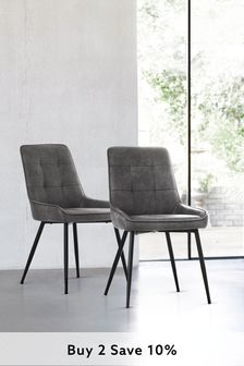 Monza Faux Leather Grey Set Of 2 Cole Dining Chairs With Black Legs