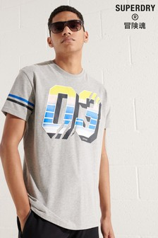 Superdry Sport Grey Grit Numbers T-Shirt