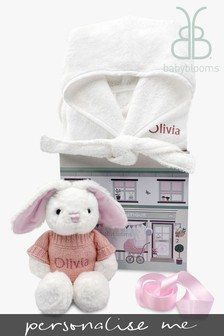 Babyblooms Personalised Pink Bathrobe and Baby Bunny Soft Toy