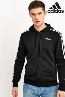 adidas Black Essentials 3 Stripe Zip Through Hoodie