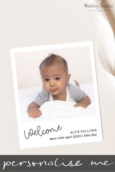 20 Pack Personalised Instant Photo Style Birth Announcement Magnets by Wedding Graphics