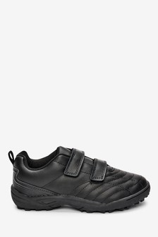 Black Leather Double Strap Quilted Shoes (Older)