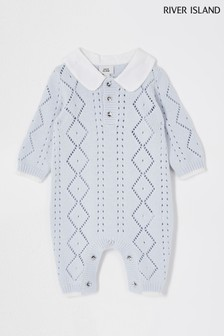 River Island Blue Woven Collar Knit All-In-One
