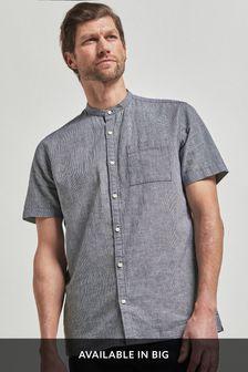 Navy Regular Fit Linen Blend Puppytooth Grandad Collar Short Sleeve Shirt