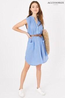 Accessorize Blue Relaxed Sleeveless Beach Shirt Dress
