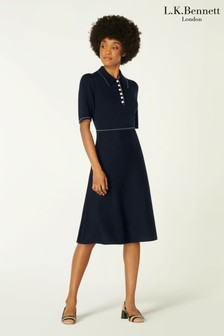 L.K.Bennett Blue Liv Flared Dress With Stitch Details