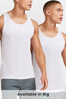 White Vests Pure Cotton Two Pack