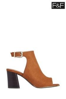 F&F Brown Peep Toe Heeled Shoes