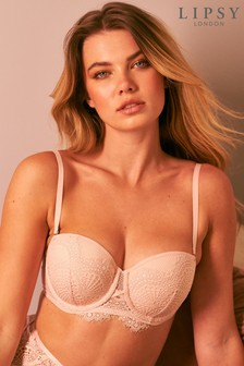 Pink Lipsy Glamour Lace Lightly Padded Multiway Bra