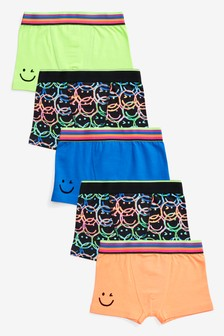 Bright 5 Pack Smiley Face Trunks (2-16yrs)