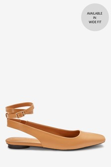 Camel Ankle Wrap Square Toe Shoes