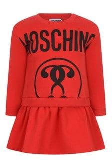 Baby Girls Red Cotton Fleece Logo Dress
