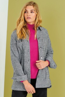 Black/White Check Shirt Jacket
