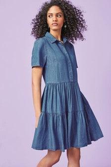 Blue Tiered Tencel Shirt Dress
