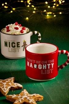 Set of 2 Naughty And Nice Childrens Mugs