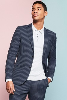 Blue Skinny Fit Skinny Fit Stripe Suit: Jacket