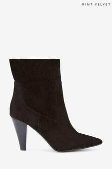 Mint Velvet Ezra Black Suede Heeled Boots