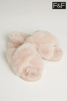 F&F Neutral Honey Faux Fur Cross Over Slippers