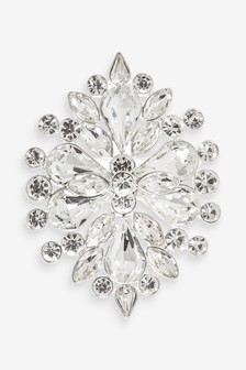 Silver Tone Crystal Effect Statement Brooch