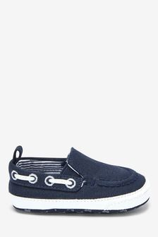 Navy Pram Slip-On Boat Shoes (0-24mths)