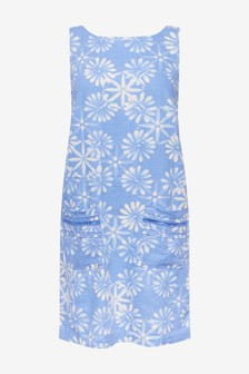 Blue Daisy Linen Blend Shift Dress