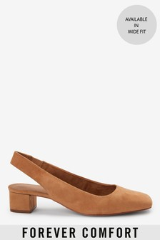 Camel Leather Square Toe Slingbacks