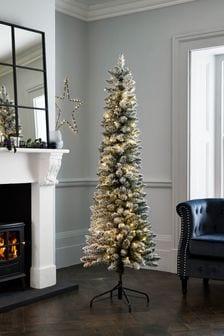 6ft Slim Snowy Lit Christmas Tree