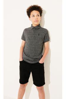 Charcoal Textured Poloshirt (3-16yrs)