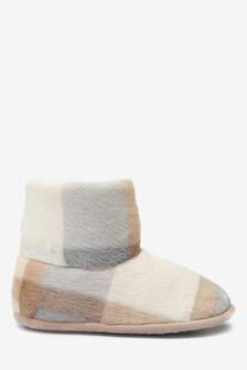 Cream Check Slipper Boots