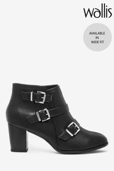 Wallis Wren Black Buckle Boots