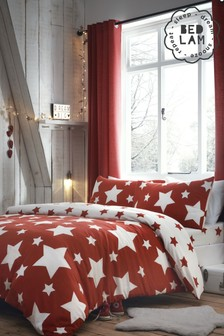 Stars Brushed Cotton Duvet Cover and Pillowcase Set by Bedlam