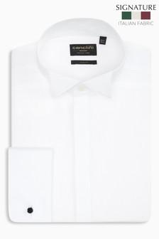 White Slim Fit Double Cuff Signature Fabric Canclini Dress Shirt