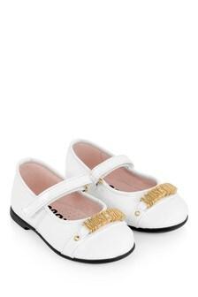 Girls White Leather Logo Ballerina Shoes