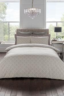 Sam Faiers Natural Noelle Deco Fan Floral Cotton Duvet Cover And Pillowcase