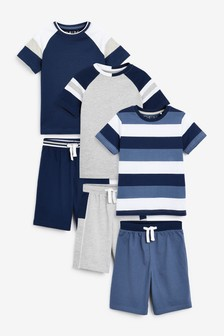 Blue Stripe 3 Pack Short Pyjamas (3-16yrs)