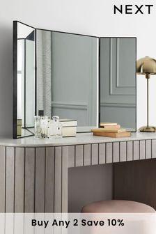 Mirror Black Tri-Fold Dressing Table