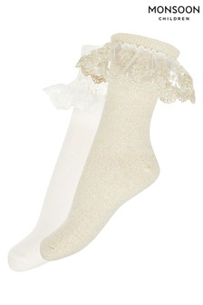 Monsoon Ellen Gold Sparkle Socks Two Pack