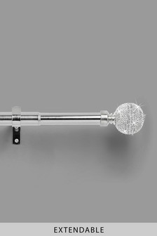 Chrome Extendable Diamanté Effect Ball 28mm Curtain Pole Kit