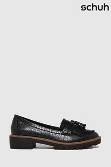 Schuh Black Livia Croc Tassel Loafers