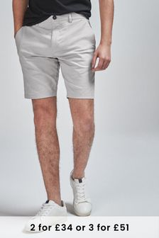 Light Grey Slim Fit Stretch Chino Shorts