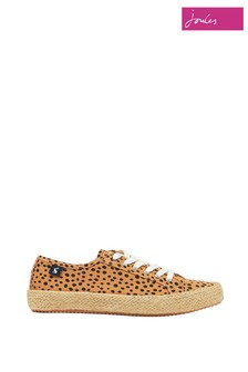 Joules Cream Coast Summer Pump Canvas Trainers with Jute Detailing