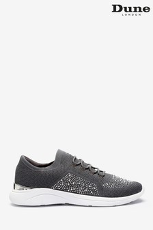 Dune London Grey Easy Lace-Up Fabric Embellished Trainers