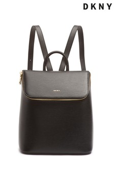 DKNY Black Bryant Leather Zip Backpack