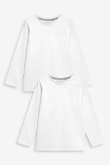 White 2 Pack Long Sleeve T-Shirts (3-16yrs)